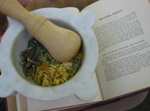 My mortar & pestle, and a 1920 Domestic Medical Practice text. This book contains a materia medica, which are the materials of medicine. In 1920 there were mostly herbs.