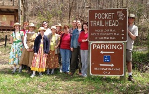 At Shirely Miller Wildflower Pocket Trail at Pigeon Mountain, GA. Holli Richey leading Wild Ones.